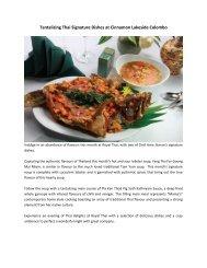 Tantalizing Thai Signature Dishes at Cinnamon Lakeside Colombo