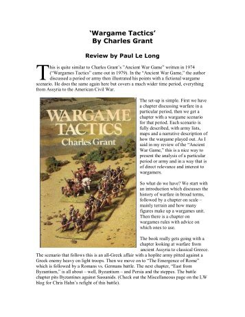 'Wargame Tactics' By Charles Grant - Lone Warrior Blog