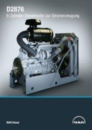 6-Zylinder Dieselmotor zur Stromerzeugung. - MAN Diesel & Turbo SE