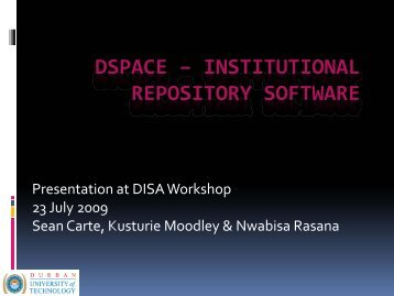DSPACE – INSTITUTIONAL REPOSITORY SOFTWARE - DISA