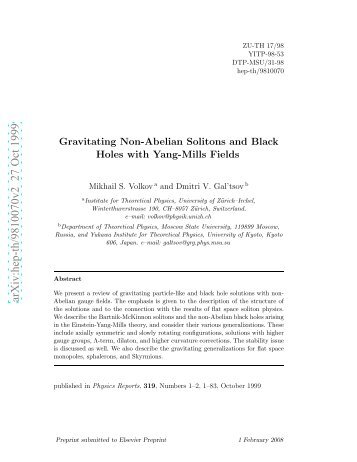 Gravitating Non-Abelian Solitons and Black Holes with Yang-Mills ...