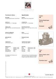 AR Swing check valve PN 16 Stainless steel