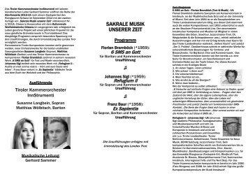 sakrale musik unserer zeit - Tiroler Kammerorchester InnStrumenti