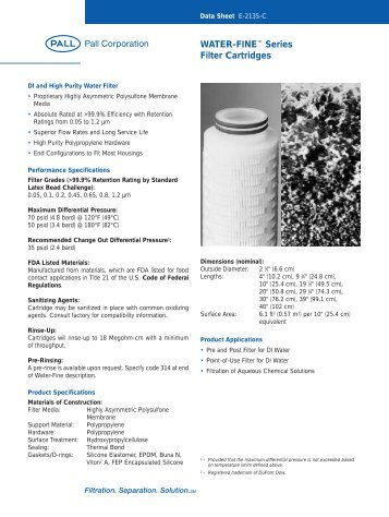 WATER-FINE™ Series Filter Cartridges - Pall Corporation