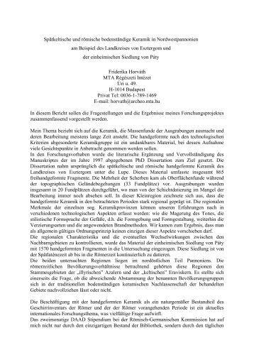 Bericht zum DAAD Stipendiums - MTA Régészeti Intézet