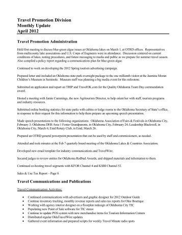 Travel Promotion Division Monthly Update April 2012 - TravelOK.com