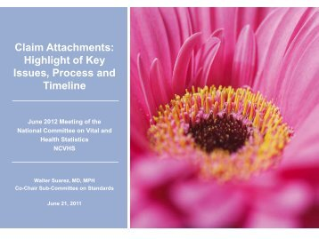 Claim Attachments - National Committee on Vital and Health Statistics