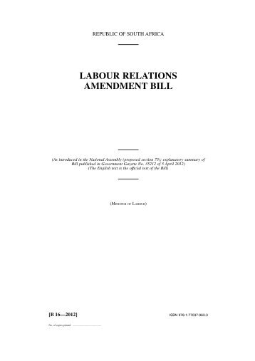 LABOUR RELATIONS AMENDMENT BILL - Juta - Law