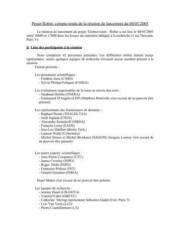 Projet Robin: proposition de compte rendu de la réunion de lanc