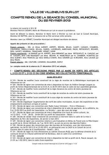 Séance du 22 février 2013 - Villeneuve sur Lot