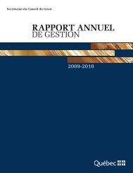 Rapport annuel de gestion 2009-2010 - Secrétariat du conseil du ...