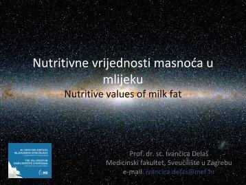 Nutritivne vrijednosti masnoća u mlijeku Nutritive values of milk fat