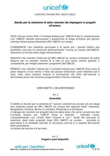 Bando stage Unicef (.pdf 152 Kb) - Centro Servizi Volontariato Salento