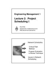 Lecture 2: Project Scheduling I