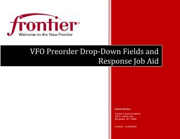 VFO Preorder Drop-Down Fields and Response Job - Frontier