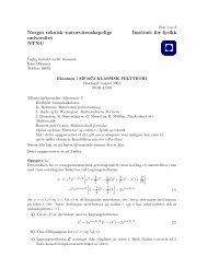 Norges teknisk–naturvitenskapelige universitet NTNU Institutt for fysikk