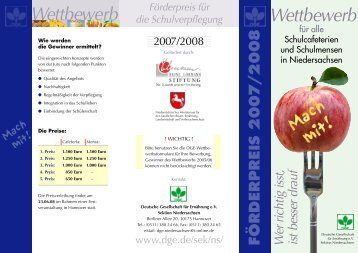 Wettbewerb Wettbewerb - Schule + Essen = Note 1