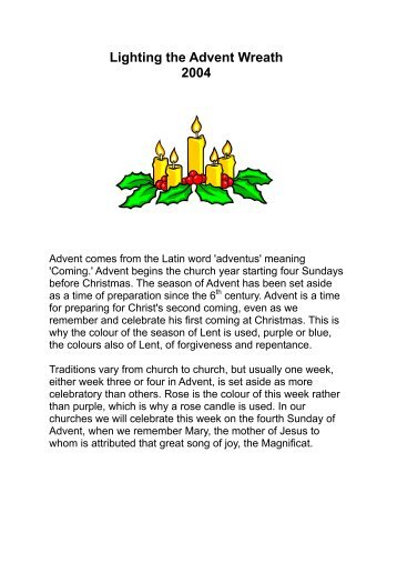 Advent Candle Lighting Readings World Vision Canada