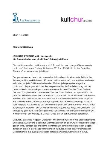 Chur, 4.1.2010 Medienmitteilung IN MUND ... - Lia Rumantscha