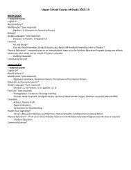 Upper School Course of Study 2013-14 - Moravian Academy