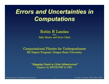 Errors and Uncertainties in Computations Errors and Uncertainties ...