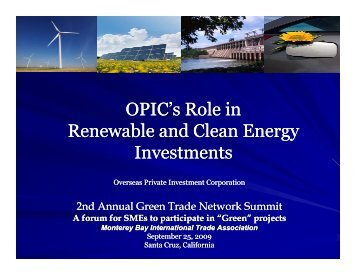 OPIC's Role in Renewable and Clean Energy Investments - MBITA