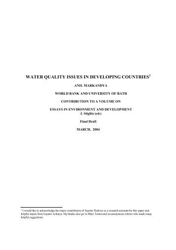 water quality issues in developing countries - Initiative for Policy ...