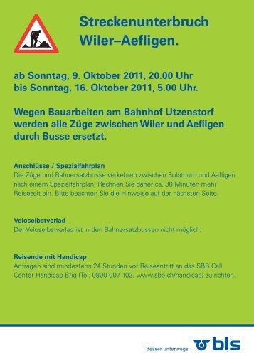 Streckenunterbruch Wiler–Aefligen. - S-Bahn Bern