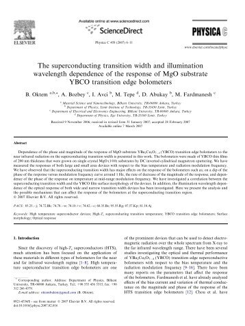 The superconducting transition width and illumination wavelength ...