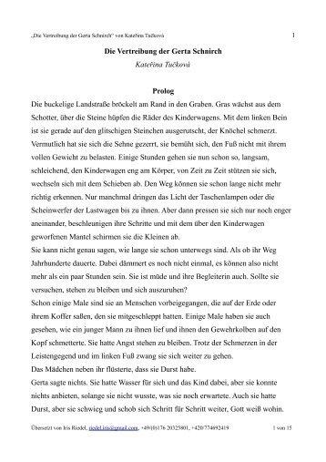 Die Vertreibung der Gerta Schnirch Kateřina Tučková Prolog Die ...