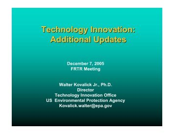 Additional Project Updates - Federal Remediation Technologies ...