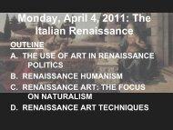 Monday, April 4, 2011: The Italian Renaissance
