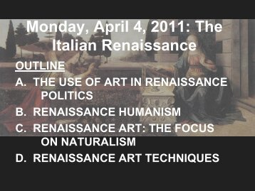 Monday, April 4, 2011: The Italian Renaissance