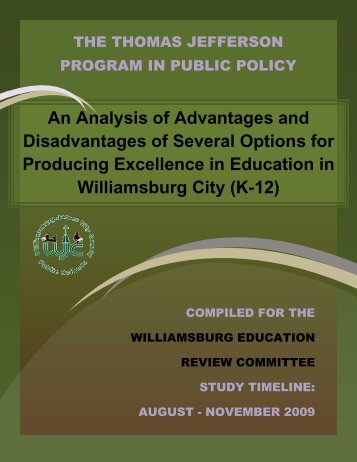 An Analysis of Advantages and Disadvantages of Several Options ...