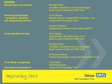 Perinatal Mental Health - Oxleas NHS Foundation Trust