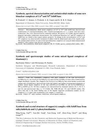 Abstracts of Journal of Indian Chemical Society Vol.86, December ...