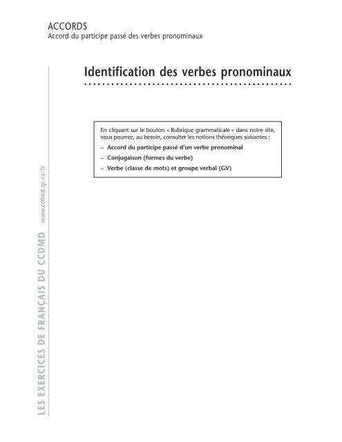 Identification Des Verbes Pronominaux Ccdmd