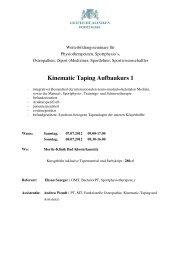 Flyer und Anmeldeformular Taping Aufbaukurs 1 2012 - Moritz Klinik