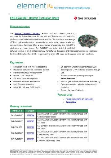 EKS-EVALBOT: Robotic Evaluation Board - Farnell