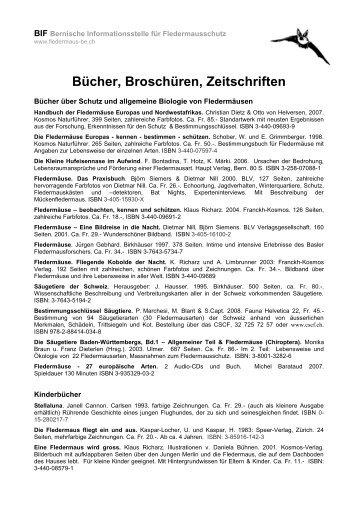 MB15 Bücher, Broschüren, Zeitschriften - Fledermaus BE