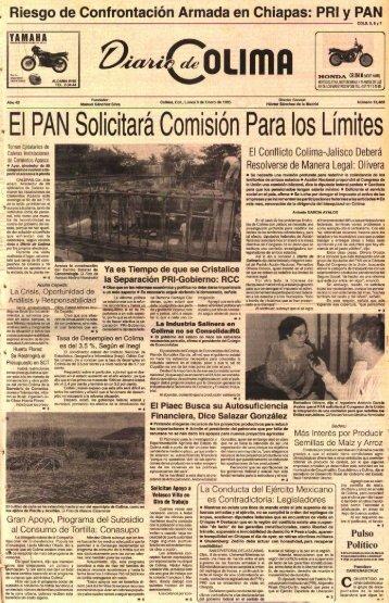 El PAN Solicitara ComisiOn Para los Limites - Universidad de Colima
