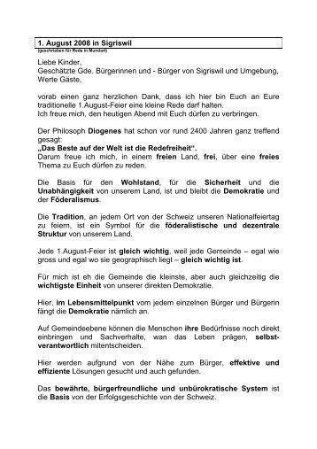 1. August 2008 in Sigriswil Liebe Kinder, Geschätzte Gde ...