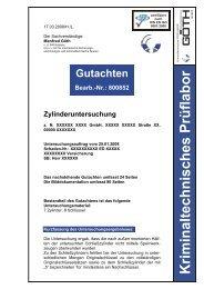 Gutachten Bearb.-Nr.: 800852 Zylinderuntersuchung - GOETH GmbH