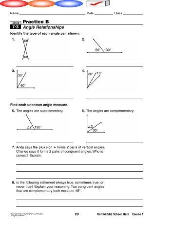 1 4 Practice C Pairs Of Angles Teacher Web