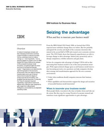When and how to innovate your business model - IBM