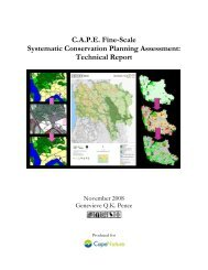 C.A.P.E. Fine-Scale Systematic Conservation Planning Assessment ...