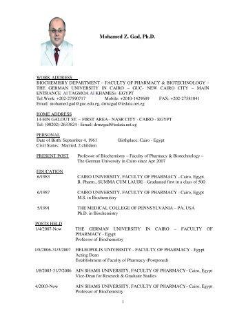 Mohamed Z. Gad, Ph.D. - VISB