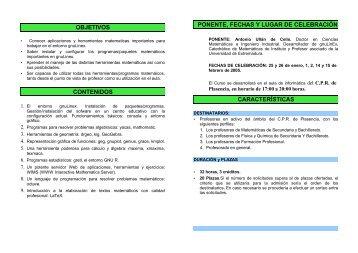 ponente, fechas y lugar de celebración características objetivos ...