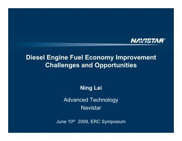 Diesel Engine Fuel Economy Improvement Challenges and ...