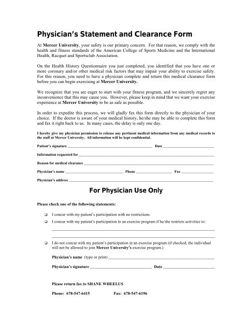 Physician's Statement and Clearance Form - Mercer University